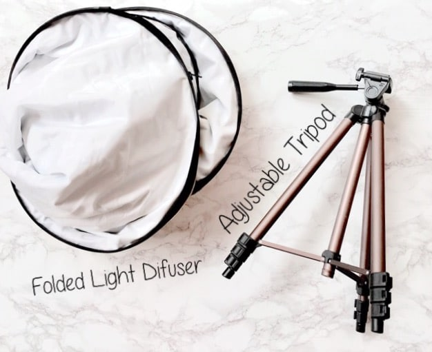 Image shows my folding light diffuser and my tripod