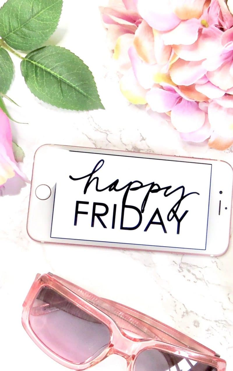 Decorative image showing my iPhone with 'Happy Friday' image on the screen.