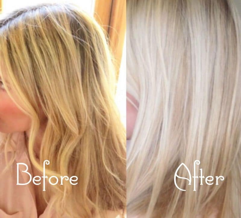 Samantha's hair colour before and after photo.