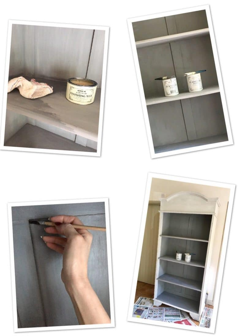 image shows step by step stages of up cycling the bookcase.