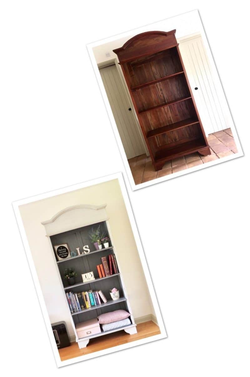 Image shows before and after photos of the bookcase
