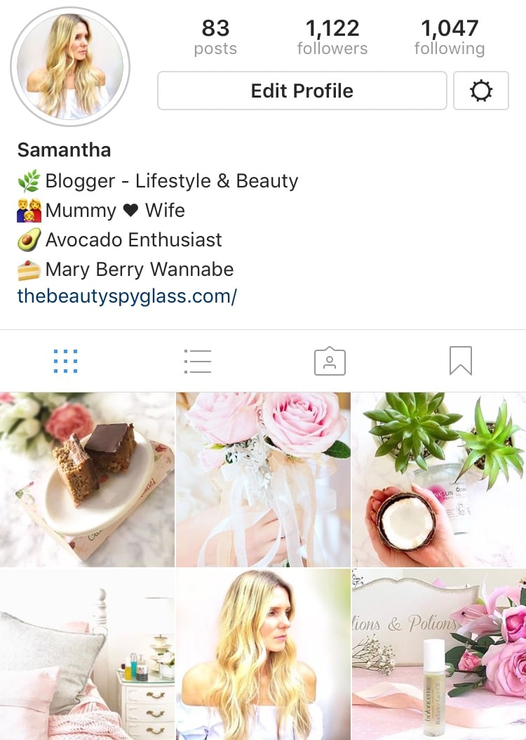 Image shows a snapshot of my Instagram page.