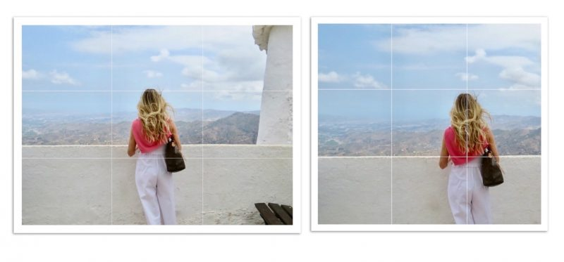 Two images of samantha showing the rule of thirds