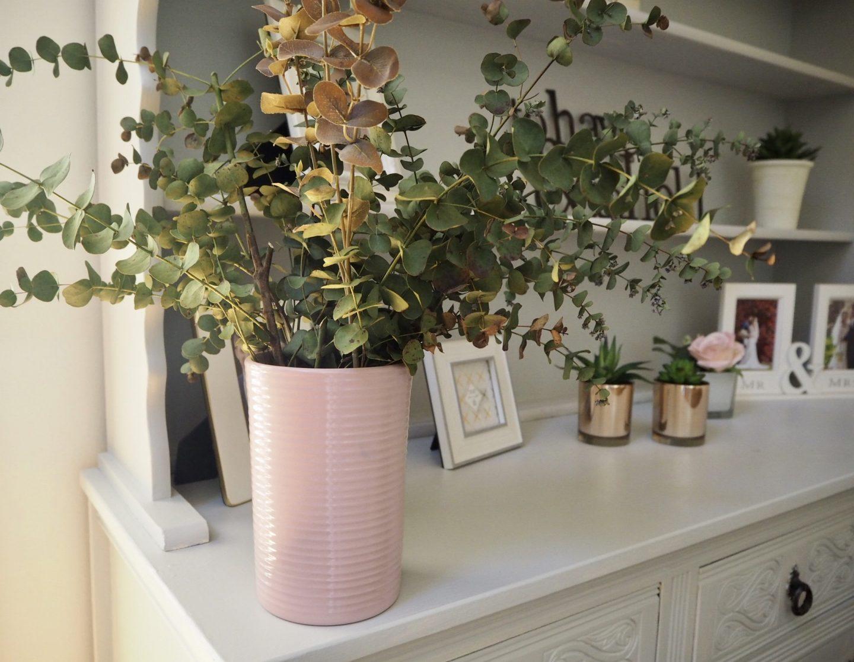 Eucalyptus vase on a dresser